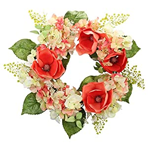 Silk Flower Arrangements Cloris Art Summer Wreath for Front Door, 22 Inch Artificial Magnolia Hydrangea Wreath for Home Office Wedding Party, Spring Door Wreaths for Farmhouse Decor (Red)