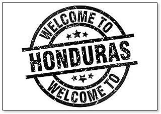 Welcome to Honduras Black Stamp Illustration Fridge Magnet