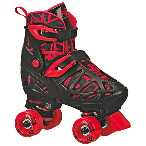 Image of Roller Derby Trac Star Boy's Adjustable Roller Skate, Grey/Black/Red, Medium (12-2)
