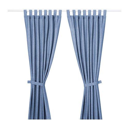 IKEA Lenda Curtains With Tie Backs 1 Pair Bright Blue 403.961.79 Size 55x118