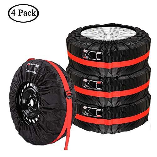 Queta Auto Reifentaschen Set für 13-17 Zoll Auto Reifen Reifensäcke mit Reifenposition Aufdruck und Griff, 4 Stück