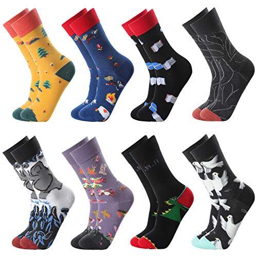 GuKKK Calcetines Estampados, 8 Pares Calcetines Hombres Mujer Divertidos, Calcetines Algodon Estampados Impresos de Pintura de Arte, Ocasionales Calcetines Divertidos, Calcetines de Colores (8-5)