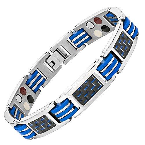 Willis Judd azul pulsera magnética de titanio cuatro elementos con azul de...