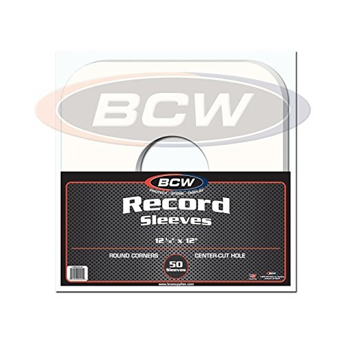 50 33 1/3 RPM 12 LP/Album White Paper Vinyl Record Sleeves/Protectors - Heavy 20# Weight Paper With Hole For Viewing Label by BCW