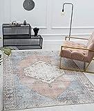 the carpet Zen - Alfombra clásica vintage para salón, aspecto desgastado, superplana, lavable hasta 30 grados, parte trasera de algodón, diseño oriental, color rojo y azul, 140 x 200 cm