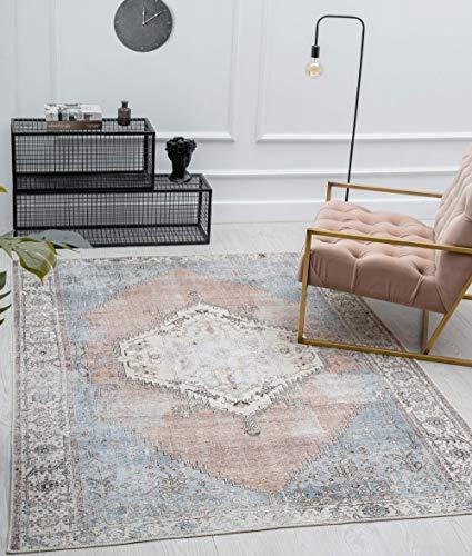 Zen - Alfombra clásica vintage para salón, aspecto desgastado, superplana, lavable hasta 30 grados, parte trasera de algodón, diseño oriental, color rojo y azul, 160 x 230 cm