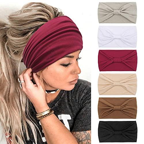 Stirnbänder Damen Frauen Haarreifen Breite Boho Knot Yoga Sport Haarbänder Elastische Haarschmuck Mehrfarbig WeicheTurbane