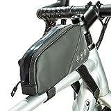 BAIGIO Bolsas de Bicicleta, Bolsa Impermeable para Bicicleta, Bolsa Táctil de Tubo Superior Delantero Bolsa Cuadro Bicicleta Triangular para Bicicleta de Montaña MTB Ciclismo,0,8L (Negro)