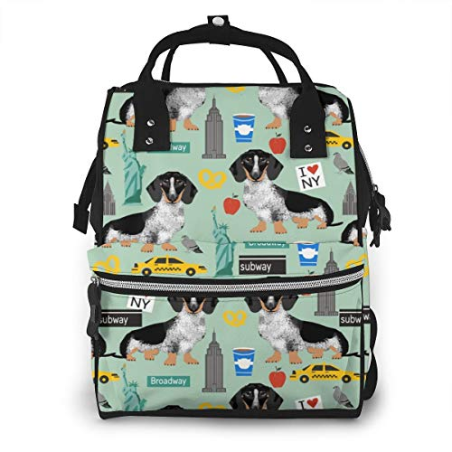 Multi-Function Mummy Backpack Doxie Piebald NYC Black and White Dachshund Travel Dog Mint Nappy Changing Maternity Bag Diaper Rucksack Waterproof Travel Large Capacity