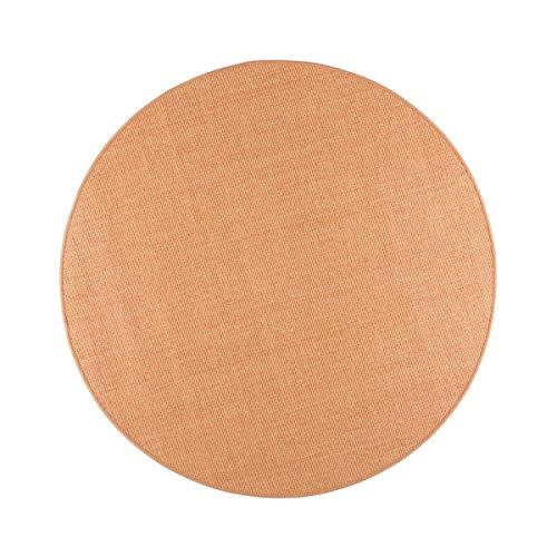 havatex Sisal Teppich Trumpf rund - hypoallergene Naturfaser | schadstoffgeprüft pflegeleicht schmutzabweisend strapazierfähig | ideal für Wohnzimmer Schlafzimmer, Farbe:Mandarine, Größe:100 cm rund