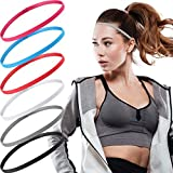 6 Pieces Thin Non-Slip Elastic Sport Headbands Elastic Silicone Grip Exercise Hair and Sweatbands Skinny Athletic Hair Bands Mini Head Band Sweatband Hair Accessories for Men Women