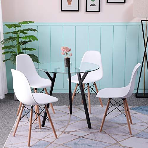 H.J WeDoo Glas Esstisch Runder Esszimmertisch Küchentisch Wohnzimmer Tisch mit Y-Förmig Metallbeinen HxD: 75 x 80 cm, Transparent