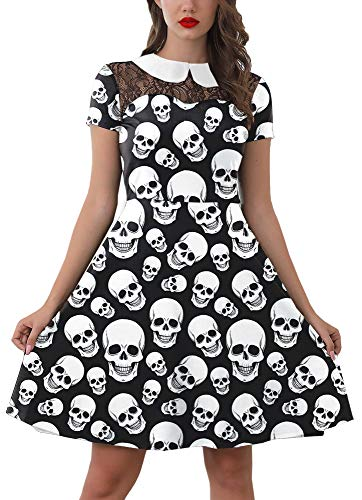Skull Halloween Dress for Women Peter Pan Collar Lace Swing Party Dresses Skeleton Costume S