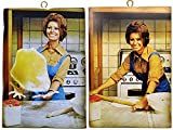 KUSTOM ART Juego de 2 cuadros estilo vintage de los famosos «Sofia Loren» para preparar pizzas, impresión sobre madera, para decoración de restaurantes, pizzerías, bares, hoteles, etc.
