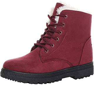 Tomsweet Women's Winter Lace up Snow Boots Warm Suede Flat Platform Sneakers Shoes for Women