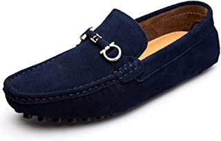 QinMei Zhou Men Driving Loafers Casual Comfortable with Low Top Pure Color Boat Moccasins (Color : Blue, Size : 5.5 UK)