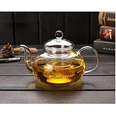 1000ML Glass Teapot With infuser,Teapot With Strainer For Loose Tea, Glass Infuser Tea Pot Can be Used On Stovetop (1000ml/35oz)