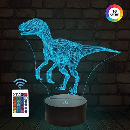 FULLOSUN Dinosaurier Geschenke , Velociraptor 3D Nachtlicht 16 Farben Nachtlichter für Kinder mit Fernbedienung ändern, Raptor Geburtstagsgeschenke für Jungen Alter 2 3 4 5 6+ Jahre alt Junge