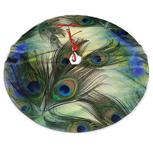 Bandnae Christmas Tree Skirt - Peacock Feather Festive Holiday Decor Xmas Decorations, New Year Ornaments Home Indoor Outdoor - Size 30'/36'/48'