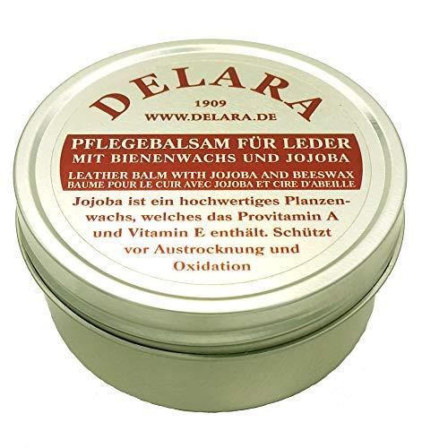 DELARA Bálsamo de cuidado de alta calidad para cuero con jojoba y cera de abeja, protege eficazmente el cuero liso contra la deshidratación y la oxidación, 150 ml, fabricado en Alemania