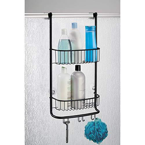 iDesign Organizador de ducha para colgar, pequeña estantería colgante de metal con 2 baldas y 3 ganchos dobles, cesta de ducha para la cabina de ducha, negro