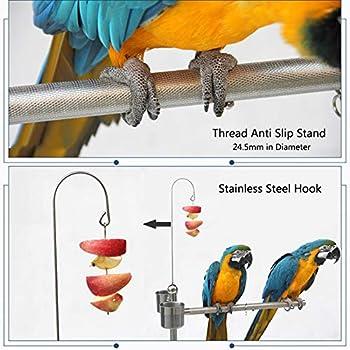 ZWW Pieds pour Cages À Oiseaux, Acier Inoxydable Réglable en Hauteur Aire De Jeux pour Oiseaux Gym Perche avec Alimentation Bol & Plateau,M