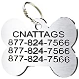 Stainless Steel Pet ID Tags Personalized Various Shapes Front and Back Engraving (Regular, Bone)