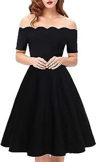 Womens Off The Shoulder Vintage Floral Patchwork A-Line Swing Midi Dresses Casual Tea Party Dress