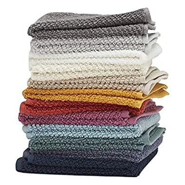 Washcloths, 12 Pack, 100% Extra Soft Ring Spun Cotton, Size 13  X 13 , Soft and Absorbent, Machine Washable, Vibrant Assorted Colors