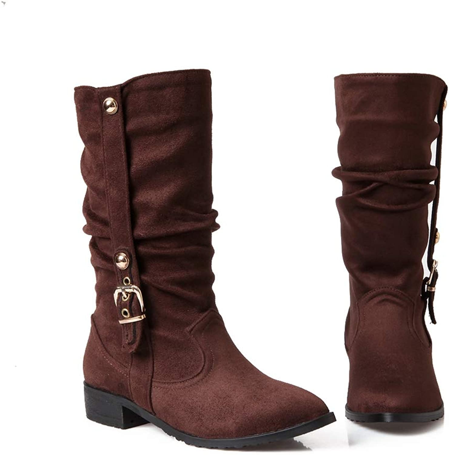 T-JULY Women Boots Fashion Flock Buckle Mid Calf Boots Square Heels Pointed Toe Women Autumn Winter Boots