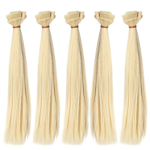 5pcs/lot,9.84''x39.37'' Straight Light Blonde Heat Resistant Hair Wefts Handcraft Materials for Making Doll Wigs