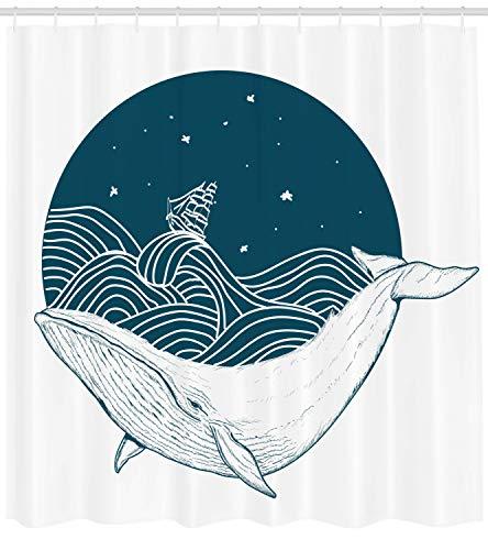 ABAKUHAUS Ozean Duschvorhang, Altes Schiff des Wals & der Sterne, mit 12 Ringe Set Wasserdicht Stielvoll Modern Farbfest & Schimmel Resistent, 175x200 cm, Weiß Teal