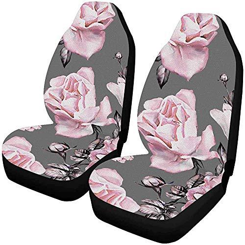 Flower Rose en color pastel Fundas para asientos de automóvil 2 pieza