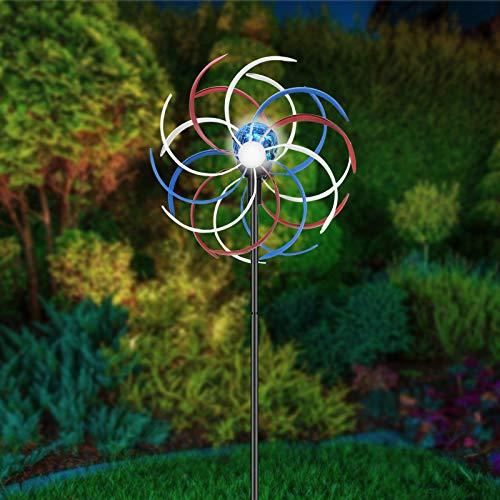 InLoveArts Solar Metall Windrad mit LED-Licht, Metall Windrad Bunt Gartenleuchte Dekoration Warmes Licht, Solar Windrad Metall Ideal für Terrasse und Garten
