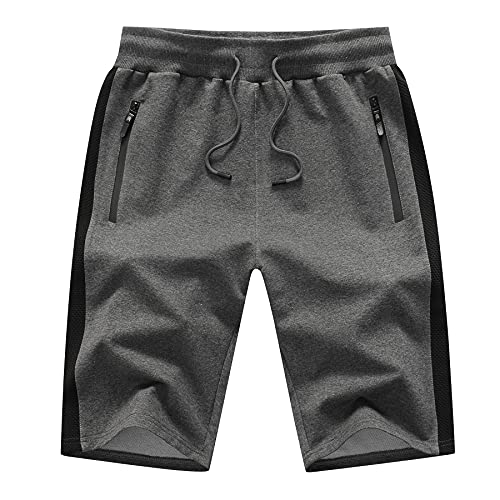 Tansozer Sport Shorts Herren Kurze Hosen Baumwolle Sommer Männer Shorts Herren Jogging Gym Sweatshorts Herren Sweat Shorts Mit ReißVerschluss Dunkelgrau 3XL
