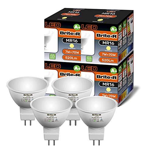 LED-Leuchtmittel, MR16, 3 W, 5 W, 7 W, Warmweiß, Kaltweiß, 4 Stück, warmweiß, 7 W, GU5.3