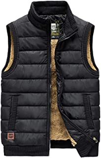 WYQ- Vest Thickening Vest Men's Velvet Winter Down Vest Outdoor Jacket 5 Sizes and 4 Colors Keep Warm (Color : Black, Size : 5XL)