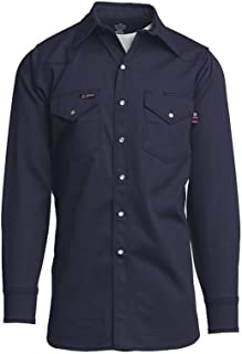 Lapco FR INNWS-22 S 100% Cotton Welding Shirt, Capacity, Volume, Cotton, 22 Small, Navy (
