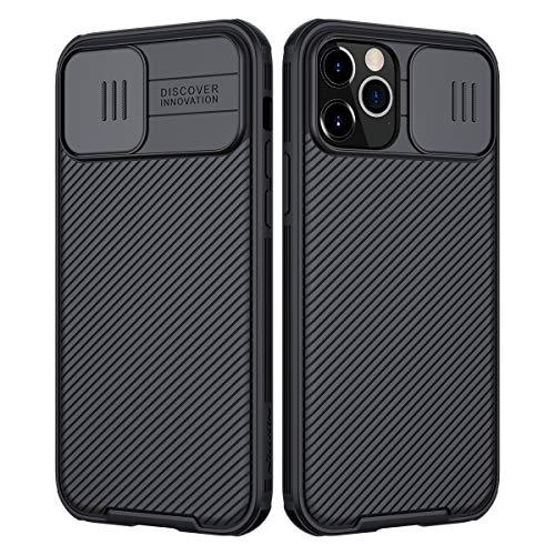 Nillkin Custodia per iPhone 12/12 PRO, CamShield PRO [Protezione Fotocamera] Bumper Protettiva Ultra Sottile Leggero Custodia Anti Graffio Hard PC Case Back Cover per 12/12 PRO (Nero)
