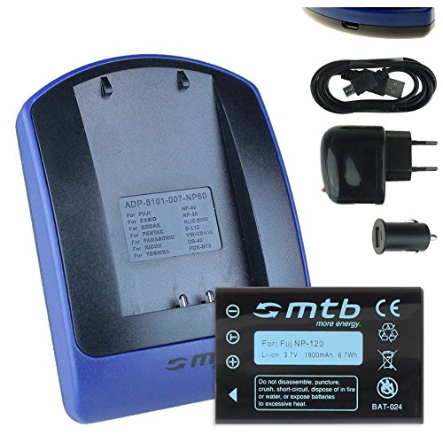 Akku + Ladegerät (Netz+Kfz+USB) NP-120 für Fuji F10, F11, M603 / Aiptek Medion Rollei Toshiba Pentax. Siehe Liste!