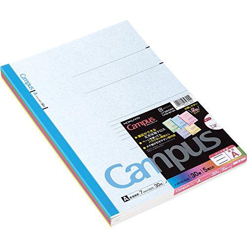 コクヨ ノート キャンパスノート A4 カラー表紙 5色パック A罫 ノ-203CAX5
