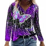 ZFQQ Camiseta de Manga Larga con Estampado de Mariposa Multicolor para Mujer de otoño
