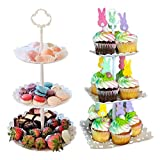 2pcs 3 Tier Dessert Stands Fruit Plates for Wedding Baby Shower Birthday/Tea Party (1pc Round and 1pc Square)