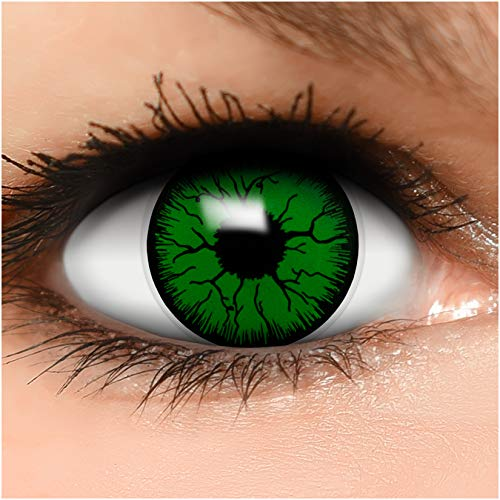Farbige Kontaktlinsen Monster in grün schwarz + Behälter - Top Linsenfinder Markenqualität, 1Paar (2 Stück)