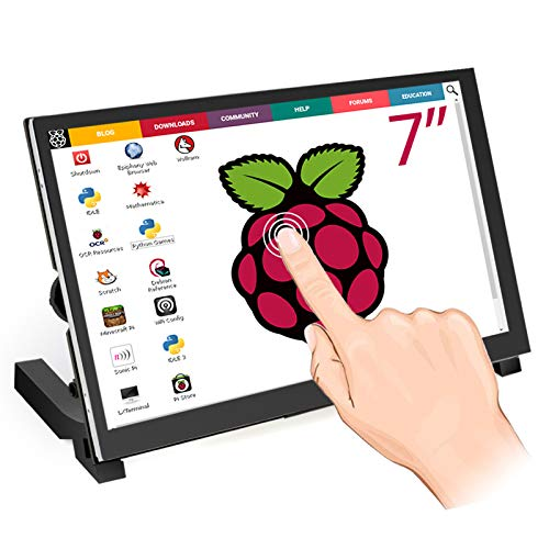 ELECROW Raspberry Pi Monitor 7 Inch Touchscreen Capacitive IPS Display 1024x600 USB Powered HDMI Monitor with Speaker & Stand for Raspberry Pi Win PC