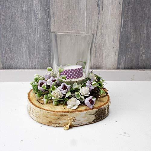 Tischgesteck mit Kratzschutz, Windlicht, mit Kerze, Frühlingsgesteck, Gesteck, lila