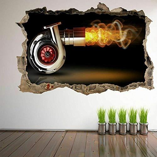 Pegatinas de pared Acero 3D pared arte pegatina mural calcomanía cartel coche garaje decoración cartel papel tapiz- 50×70cm