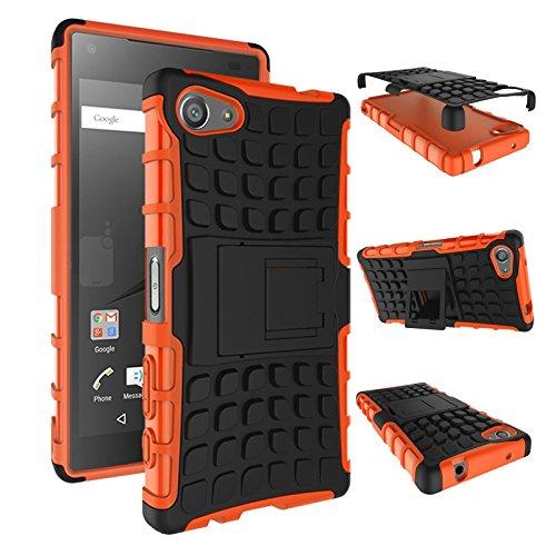 pinlu Funda para Sony Xperia Z5 Compact (4.6 Pulgada) Smartphone Doble Capa Híbrida Armadura Silicona TPU + PC Armor Heavy Duty Case Duradero Protección Neumáticos Patrón Naranja
