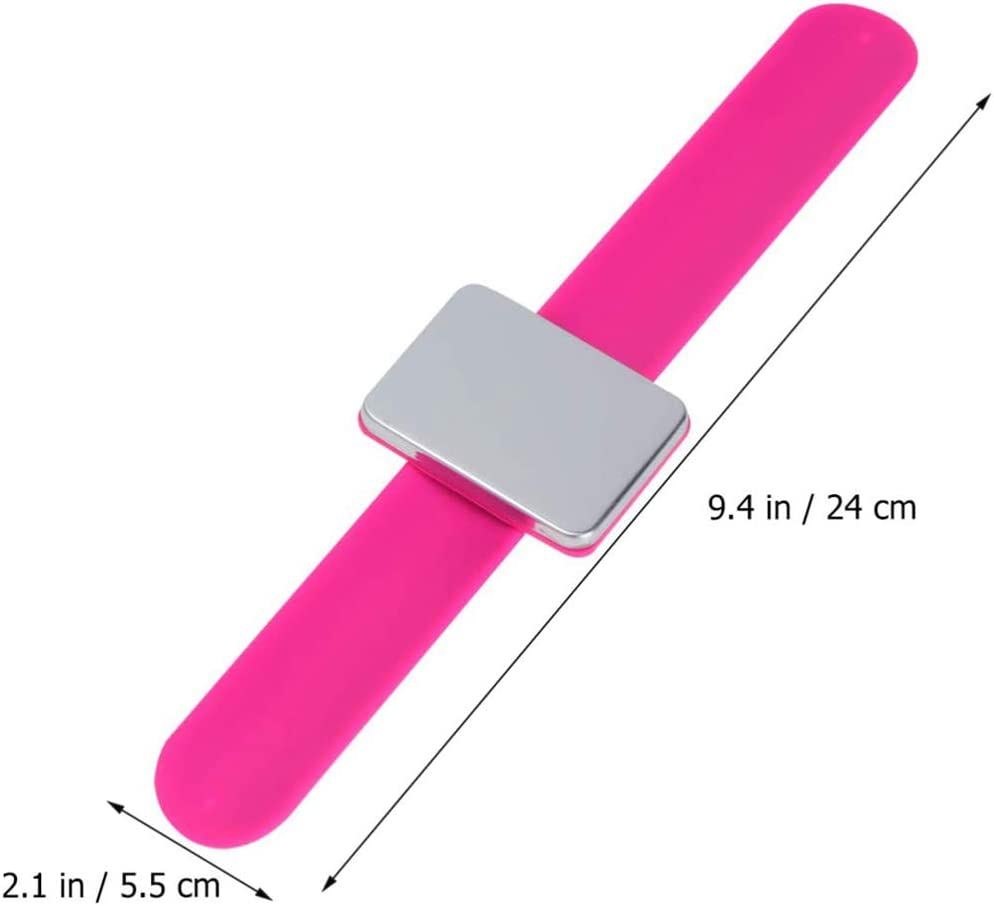 Magnetic Pin Holder Wristband Square Pin Cushion Holder Arm Magnetic Pin Cushion with Silicone Wrist Strap,Pink Magnetic Sewing Pincushion