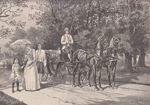 Stephanie, Kronprinzessin v. Österreich - Idylle aus dem Schloßgarten zu Laxenburg. Die Kronprinzessin-Witwe beim Spaziergang mit ihrer Tochter, Erzherzogin Elisabeth. [Grafik]